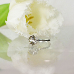Herkimer Squarequguese Solitaire Ring
