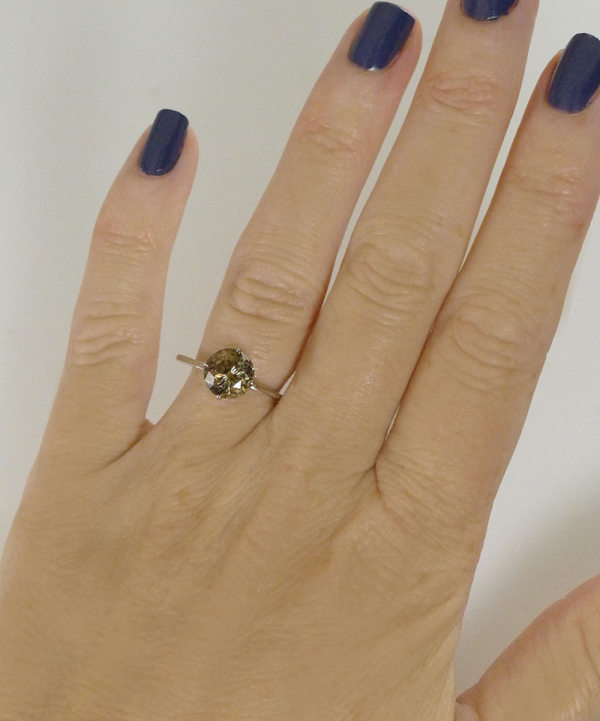 White gold champagne herkimer ring