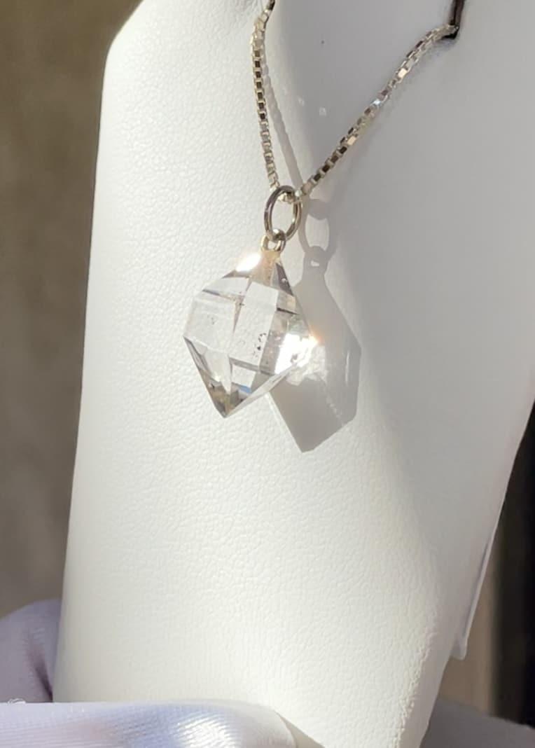 Unique Raw Crystal White Gold Pendant