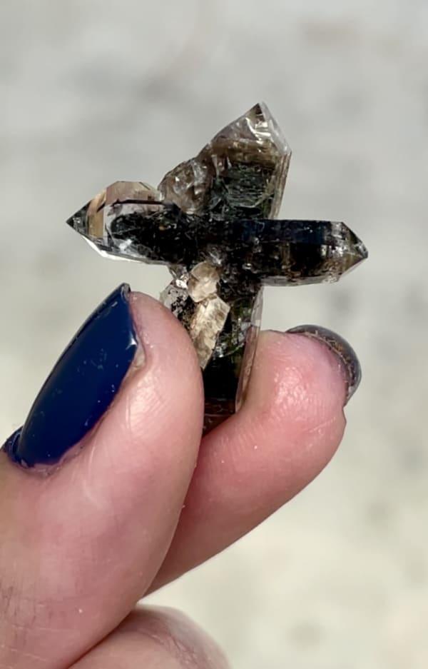 Black herkimer cross crystal