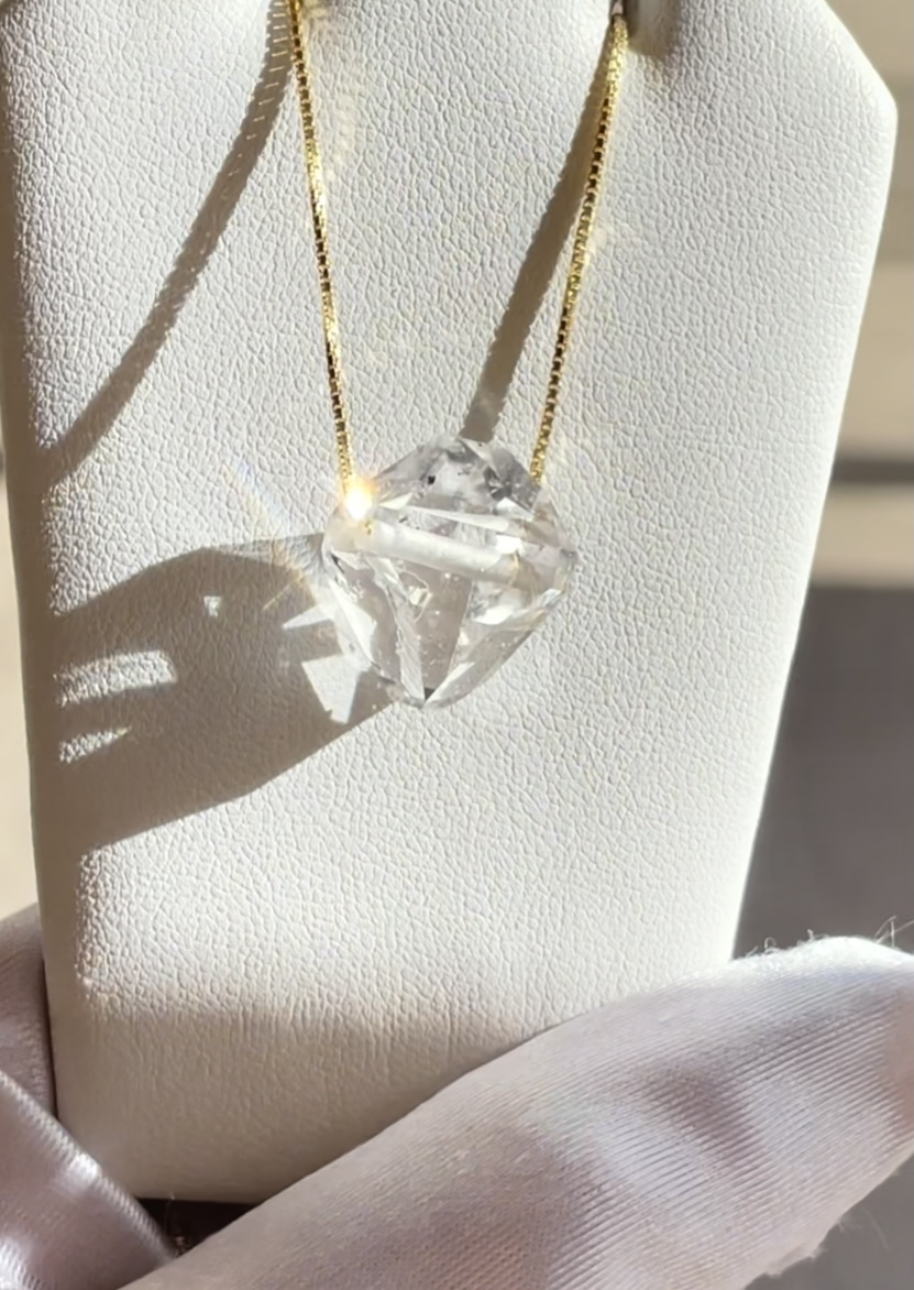 Herkimer crystal east west pendant