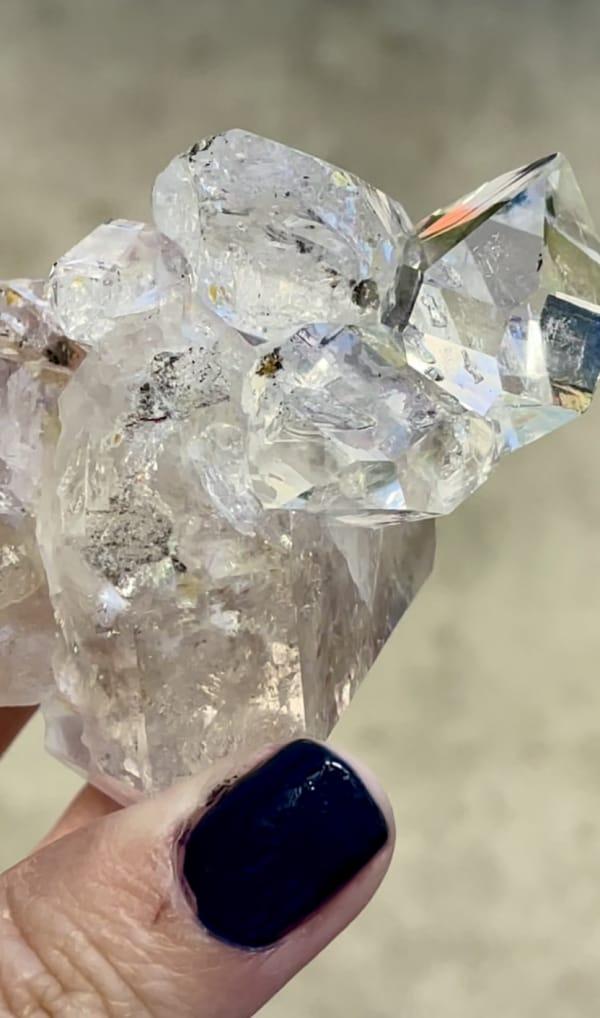 Clear herkimer crystal cluster