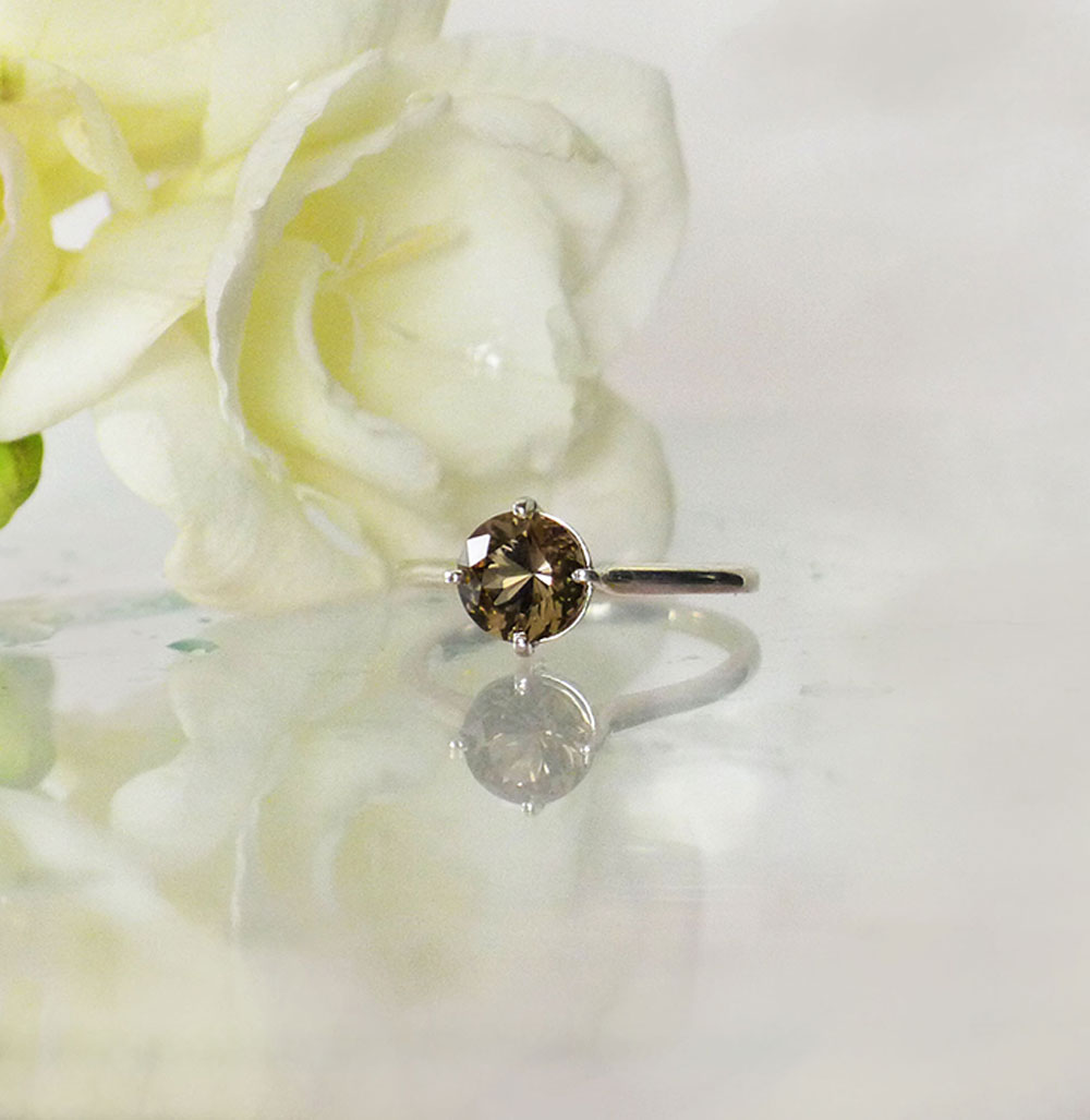 Black Herkimer Solitaire Ring