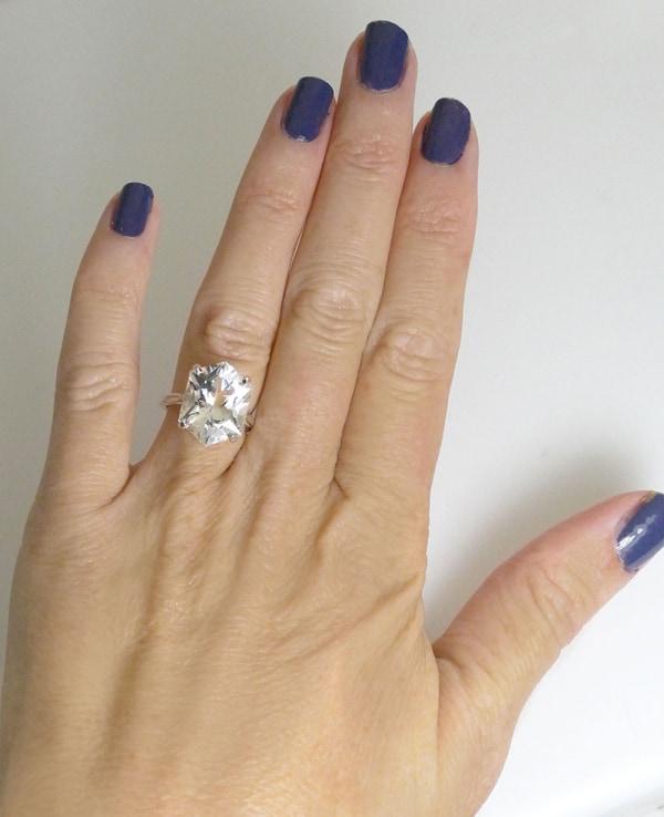AAA shield cut herkimer ring