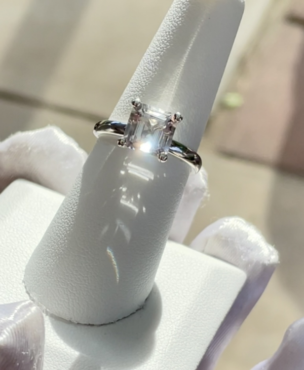 Asscher herkimer solitaire ring