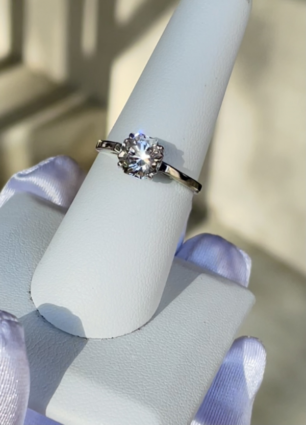 Octagon Herkimer Solitaire White Gold Ring