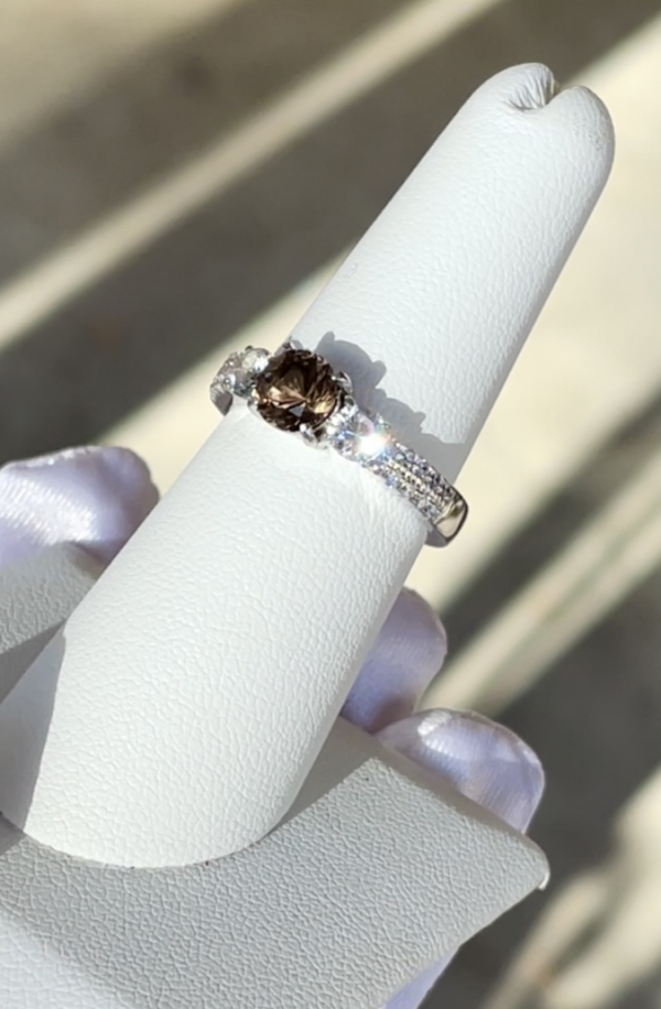 Herkimer Three Stone Sterling Ring