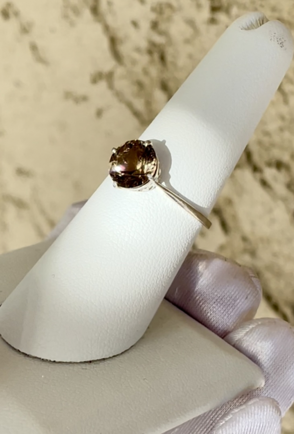 Round Solitaire Smoky Herkimer Ring