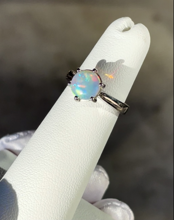 Natural Australian Opal Solitaire Ring