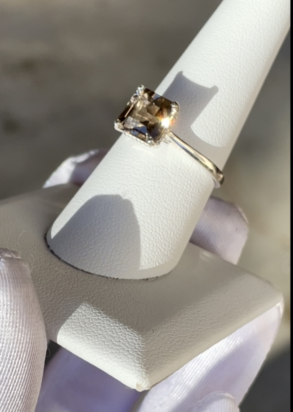 Champagne asscher solitaire ring