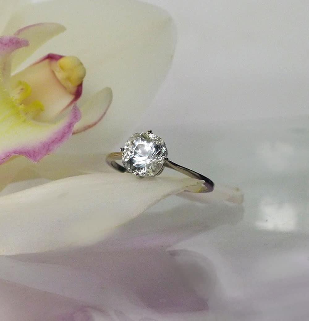 Herkimer Platinum Ring