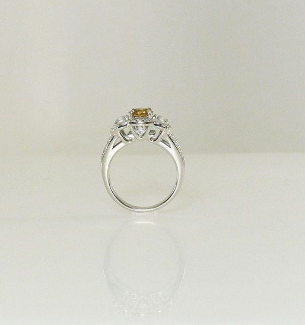 Orange Zircon Halo Ring