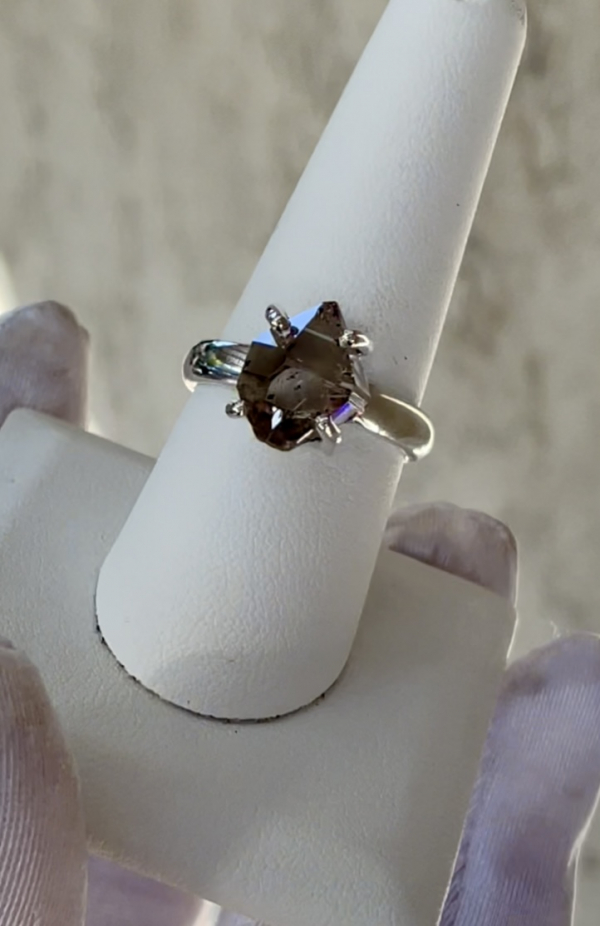 Raw Smoky Herkimer Ring