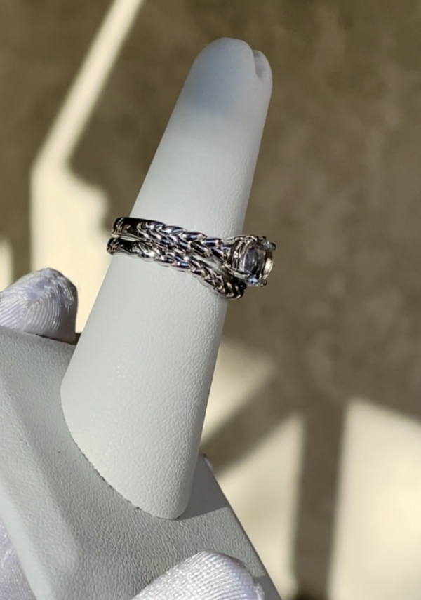 Herkimer twist wedding set