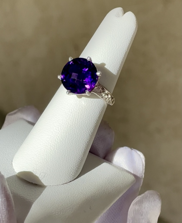 Amethyst Round Solitaire Sterling Ring