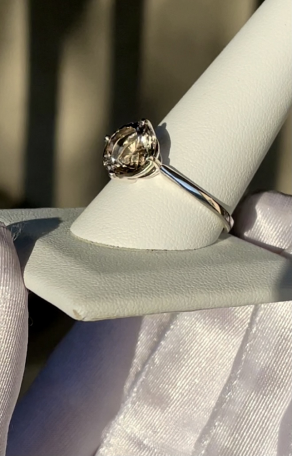 Champagne Brilliant Cut Solitaire Ring