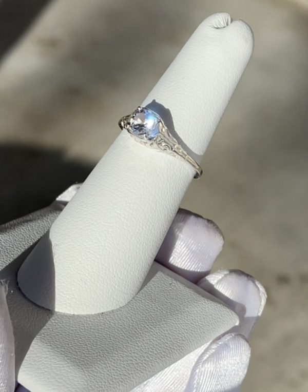 Filigree herkimer solitaire ring