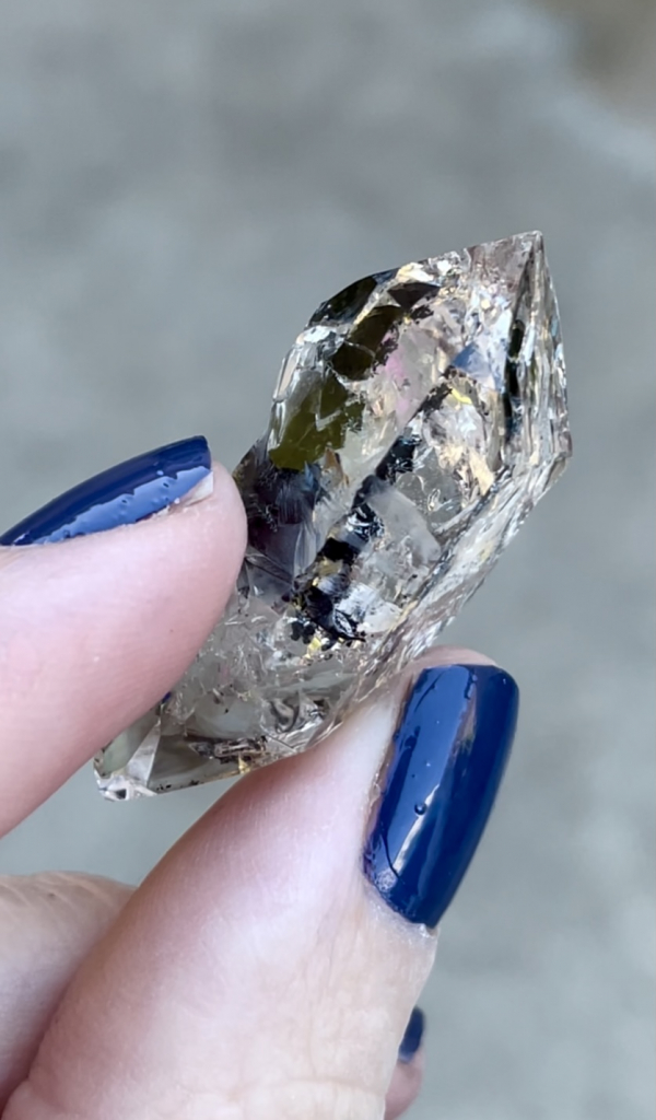 Herkimer Anthraxolite Crystal