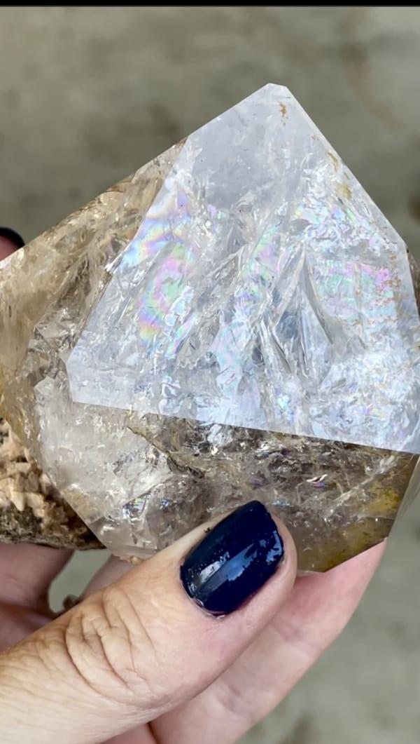 Rainbow herkimer dolomite crystal