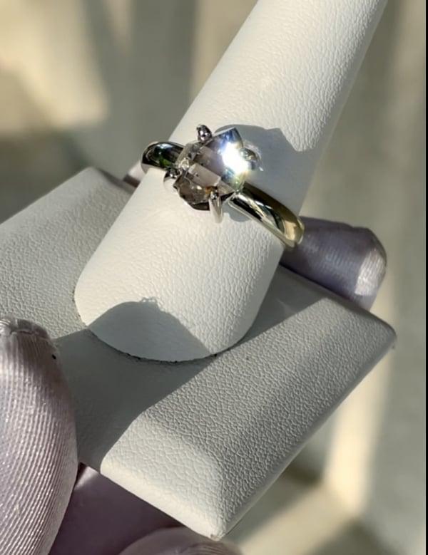 smoky raw herkimer ring