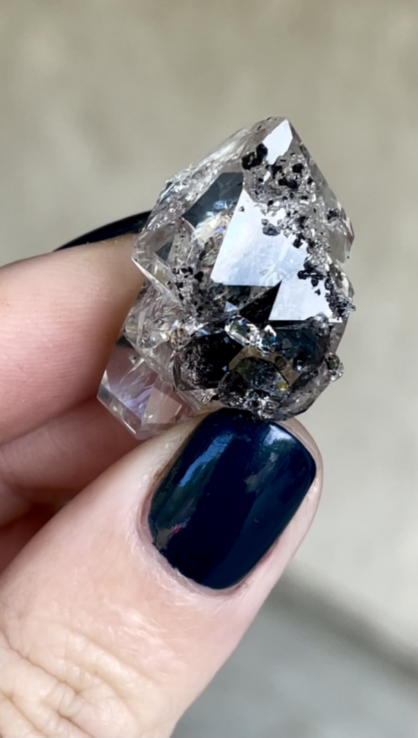 Parallel growth herkimer cluster scepter crystal