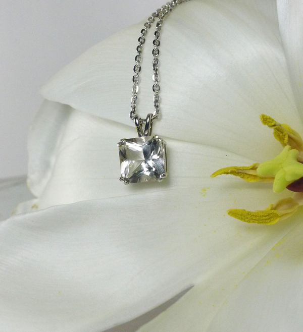Princess cut herkimer pendant