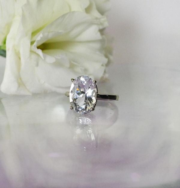 Oval Herkimer White Gold Ring