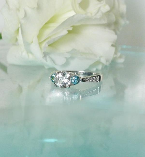 Herkimer blue zircon ring