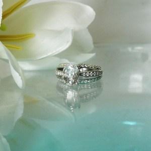 Oval Split Band Herkimer Ring