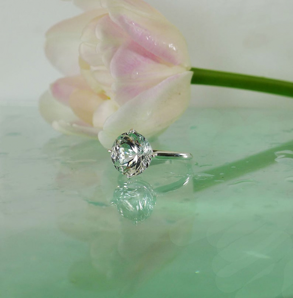 Round brilliant cut herkimer sterling ring