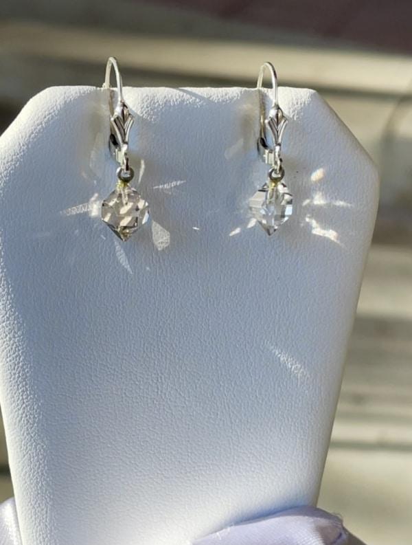 Raw crystal lever back earrings