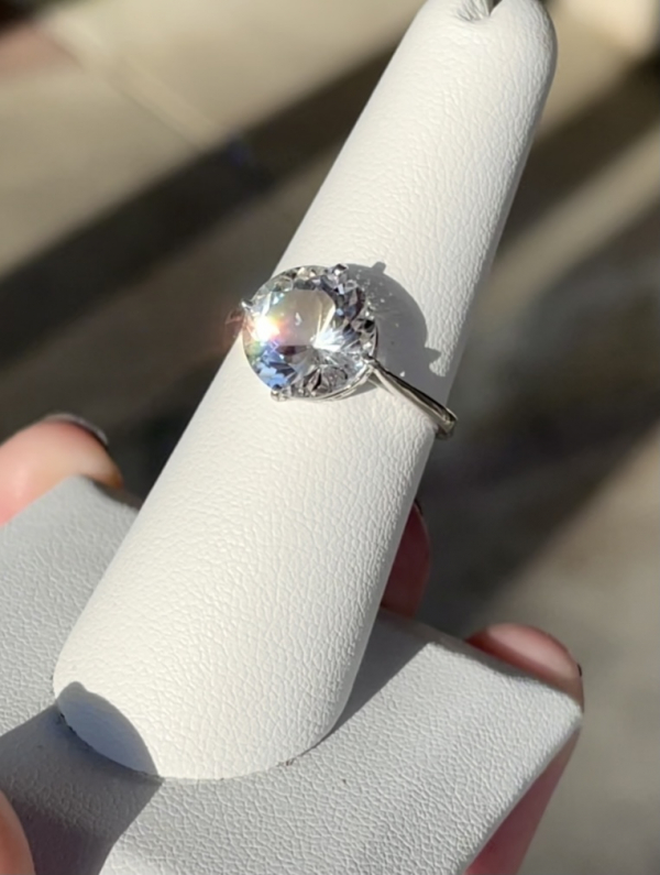 Herkimer brilliant cut sterling ring