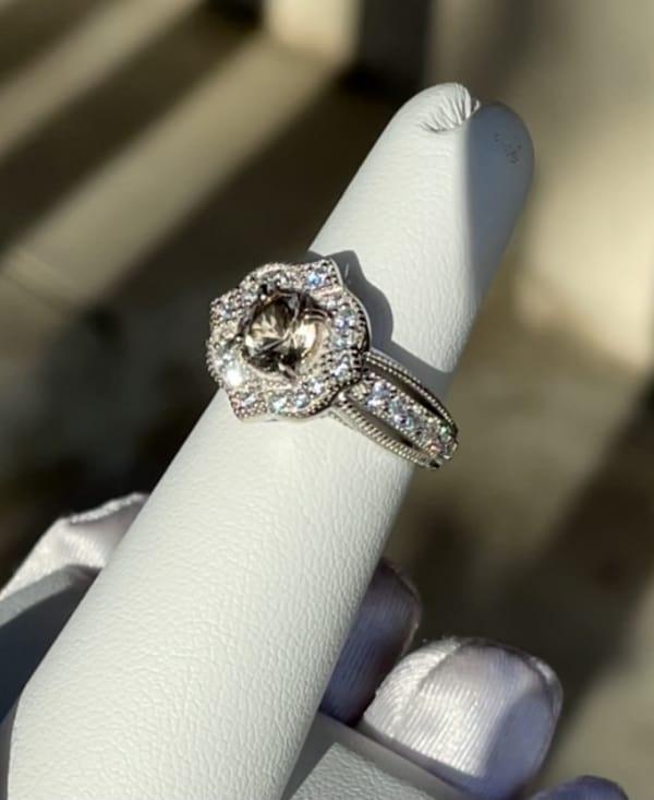 Herkimer champagne lotus ring