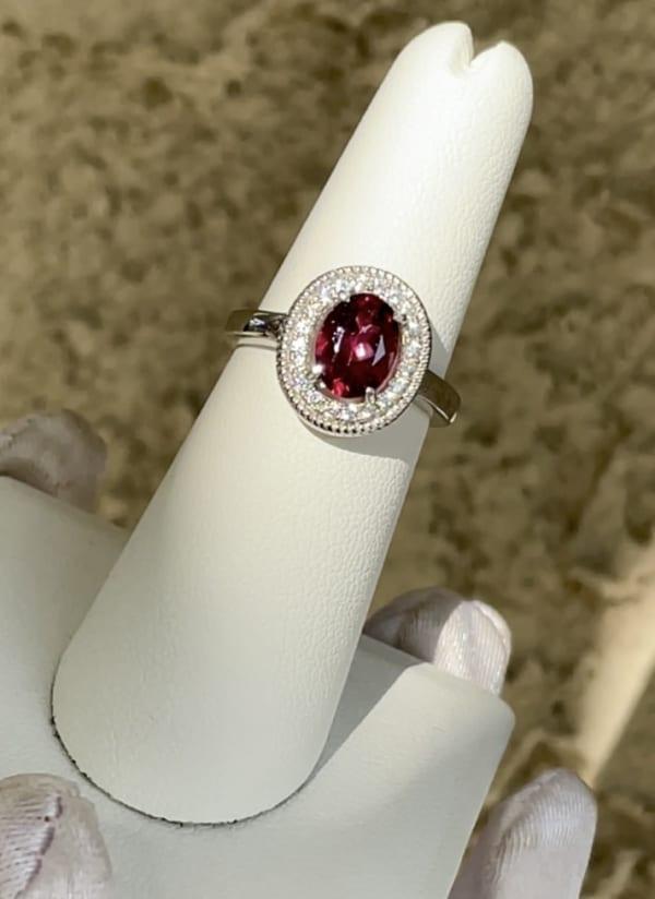 Red tourmaline ring