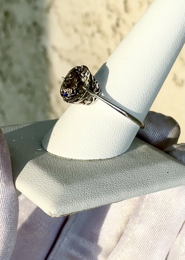 Champagne Squarequguese Solitaire Ring