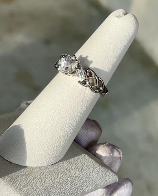 Art deco herkimer sterling ring