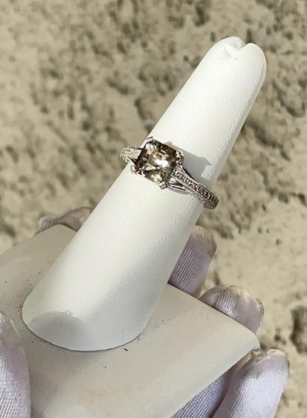 Champagne Asscher Cut Sterling Ring