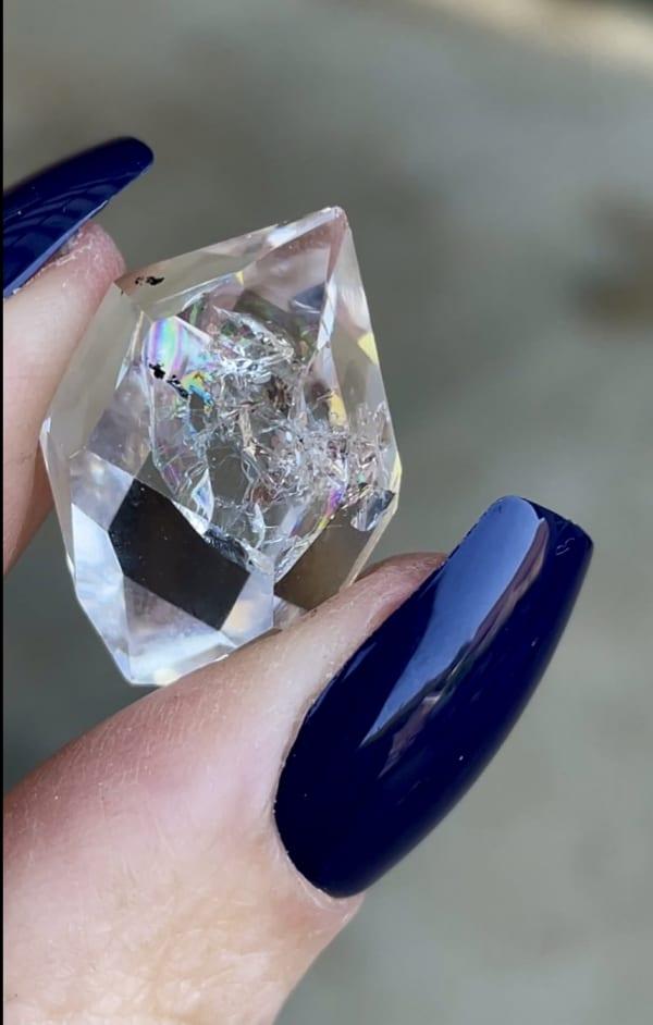 Rainbow herkimer jewelry point