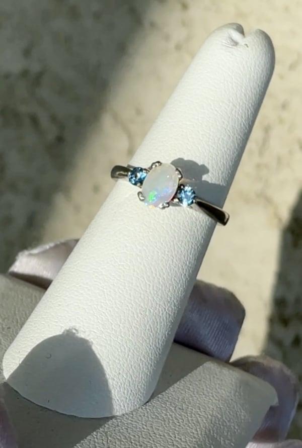 Opal Zircon Ring
