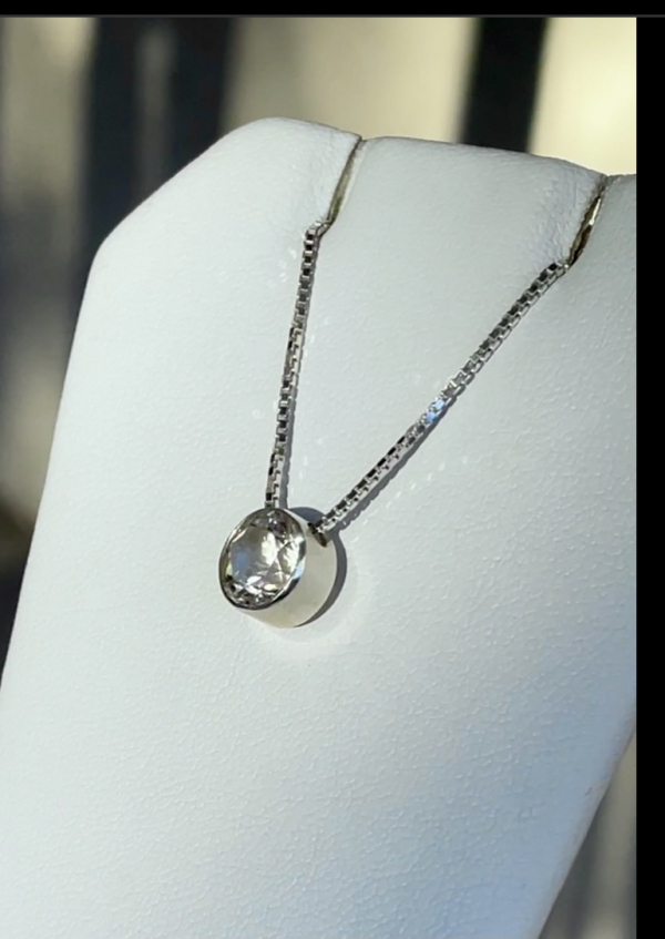 Herkimer bezel set pendant