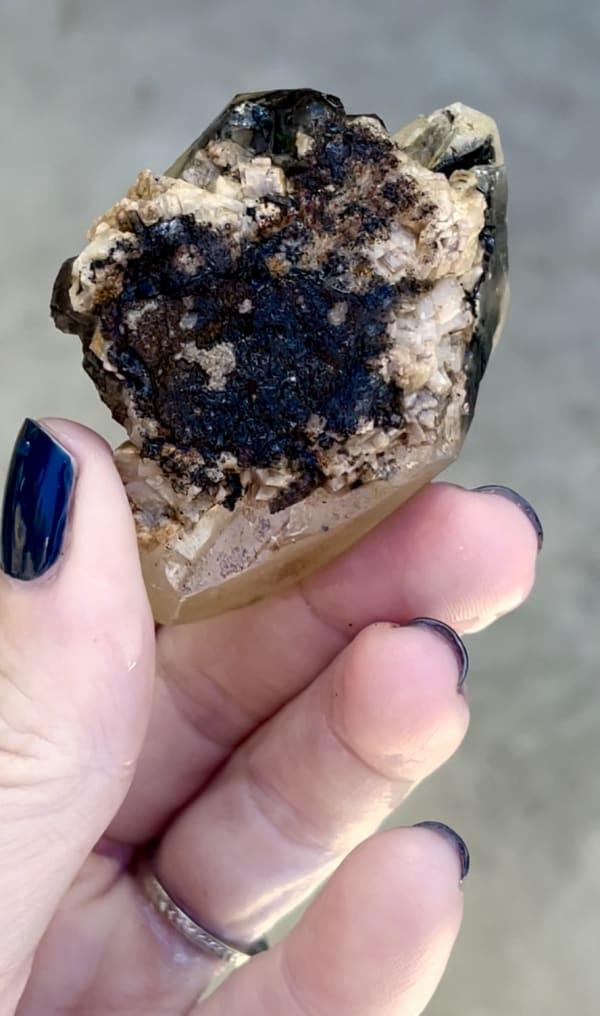 Black herkimer calcite matrix