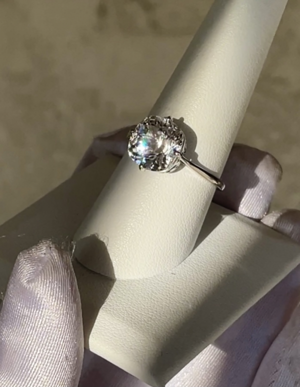White Squarequguese Solitaire Ring