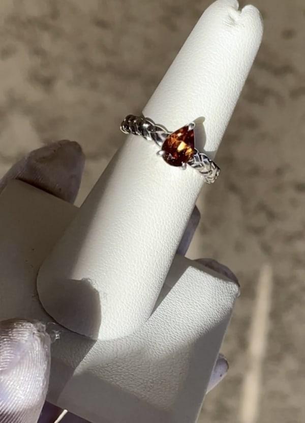 Orange Zircon Ring