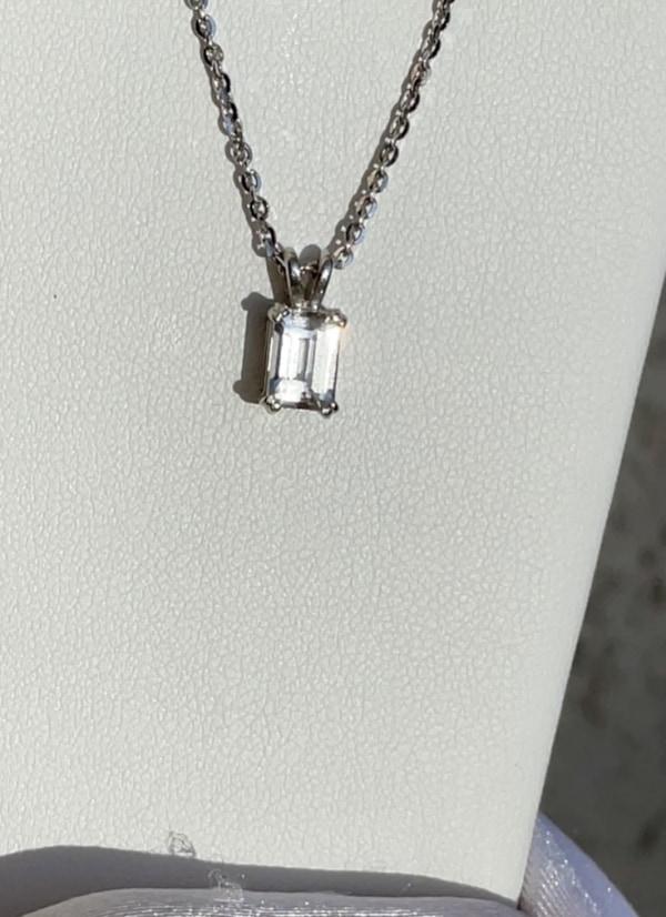 Emerald cut herkimer pendant