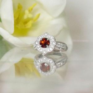 Garnet Flower Halo Ring